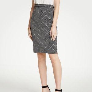 Ann Taylor Curvy Cross Stripe Pencil Skirt NWT